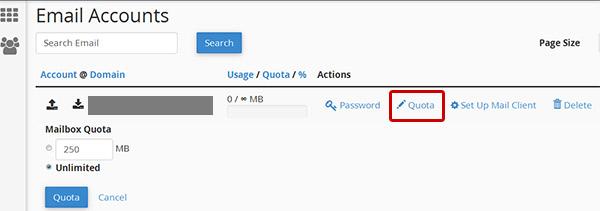 تغییر حجم ایمیل در سی پنل